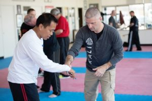 Instructors learning and teaching mixed martial arts